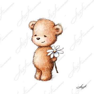The drawing of cute teddy bear with with daisy. Printable Art ...
