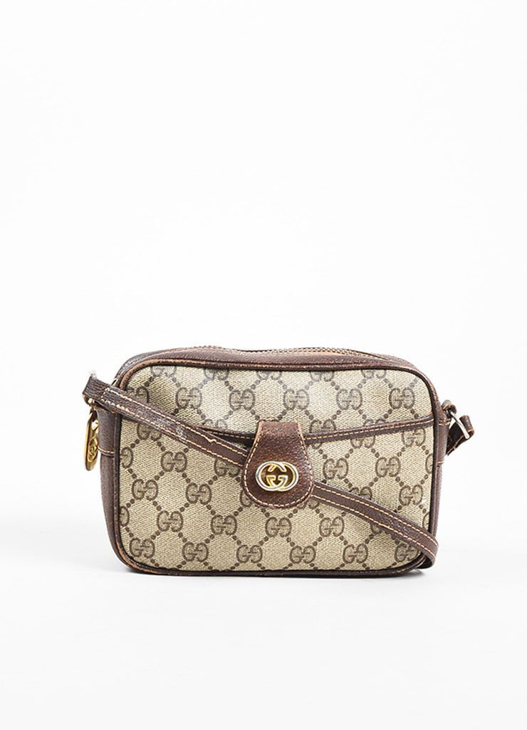 dbbb5523460a81 Brown Leather · Crossbody Bag · Monogram · Earrings · This vintage Gucci  cross body bag is constructed of beige coated canvas. Features the iconic