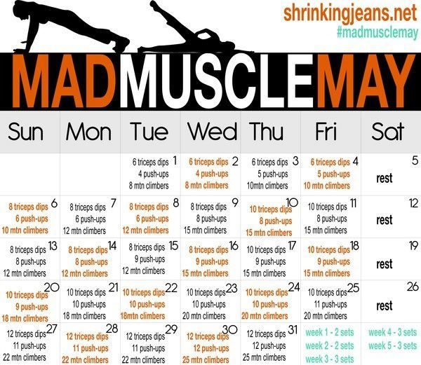 Arm Challenge #MadMuscleMay | Work It Out! | Month workout, Workout challenge, Workout calendar