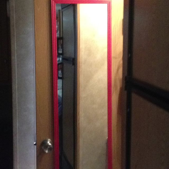 Bathroom Mirror Walmart mirror put on outside of camper bathroom door..cost less than