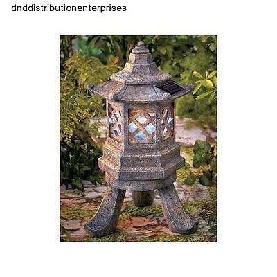 Garden Pagoda Solar Power Light Lantern Yard Lawn Decor Chinese Japanese  Decor