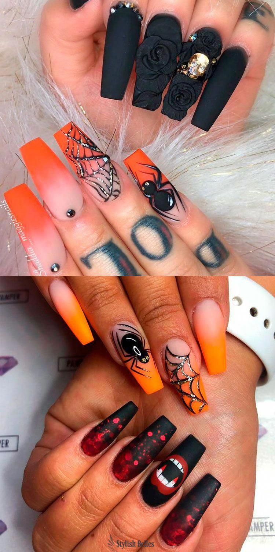 Amazing Spiderweb Halloween Nails Ideas Halloweennails Halloweennailart Blacknails Hallowee Fall Acrylic Nails Halloween Acrylic Nails Shiny Nails Designs