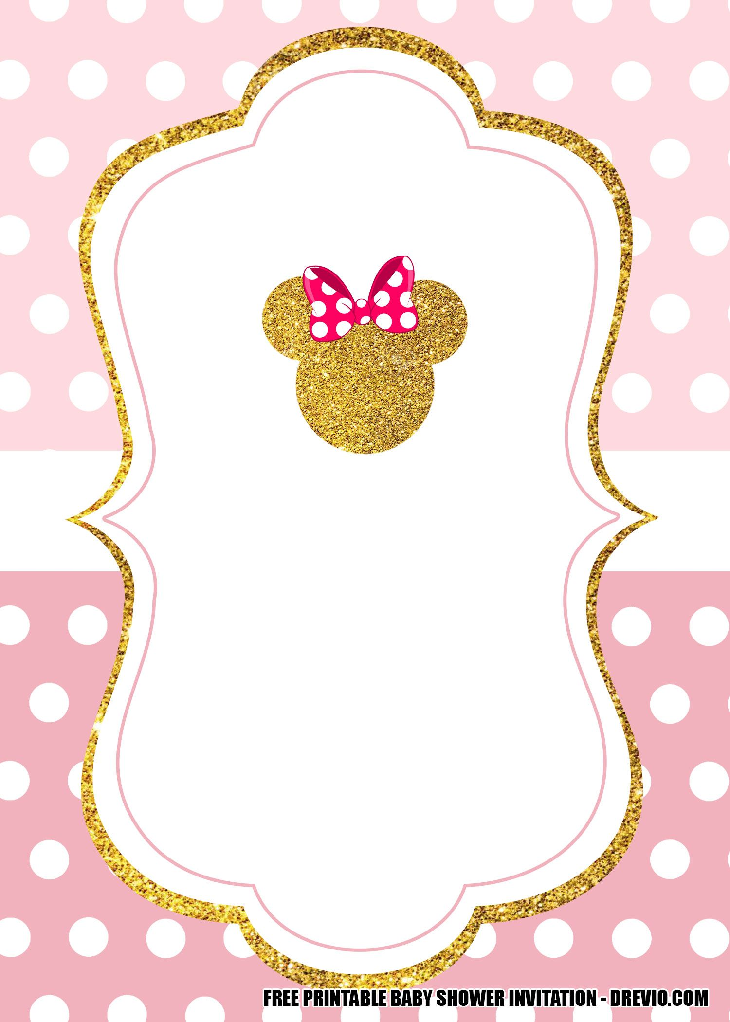 Free Minnie Mouse Pink And Gold Invitation Templates Drevio Minnie Mouse Birthday Invitations Minnie Mouse Invitations Free Baby Shower Invitations