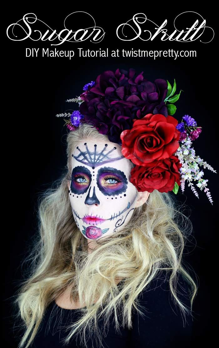 50 Halloween Hair and Makeup Tutorials Sugar skull