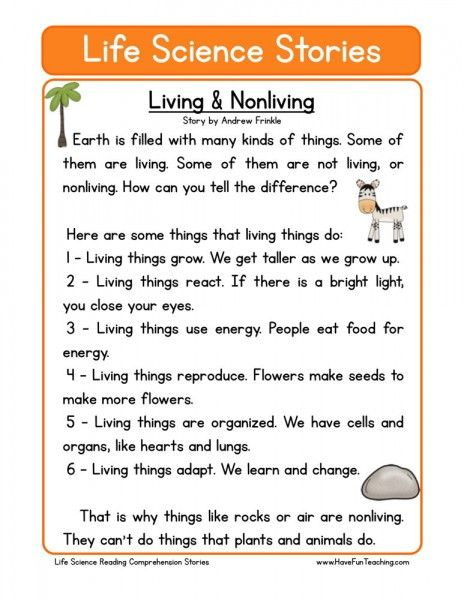 reading comprehension worksheet living nonliving my qns reading comprehension worksheets. Black Bedroom Furniture Sets. Home Design Ideas