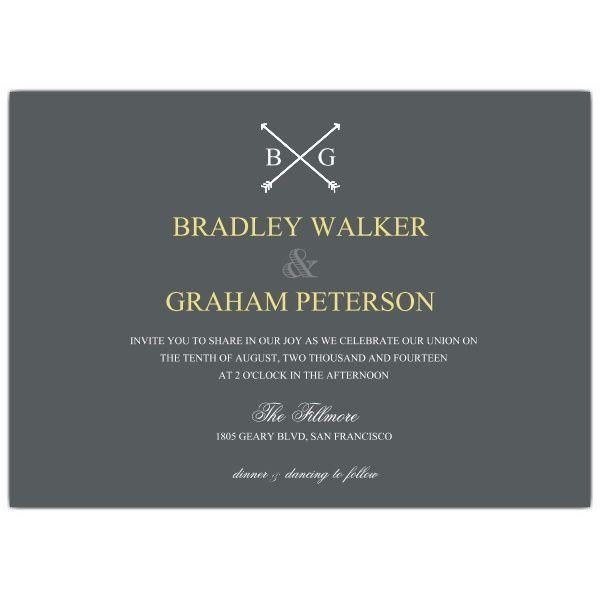 Arrow Monogram Commitment Ceremony Invitations Wedding Pinterest