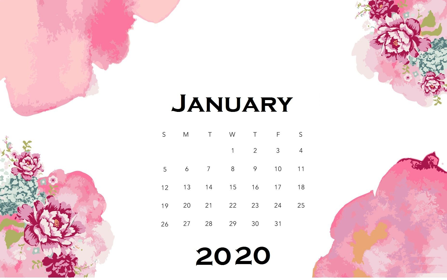 Floral january 2020 desk calendar calendar wallpaper