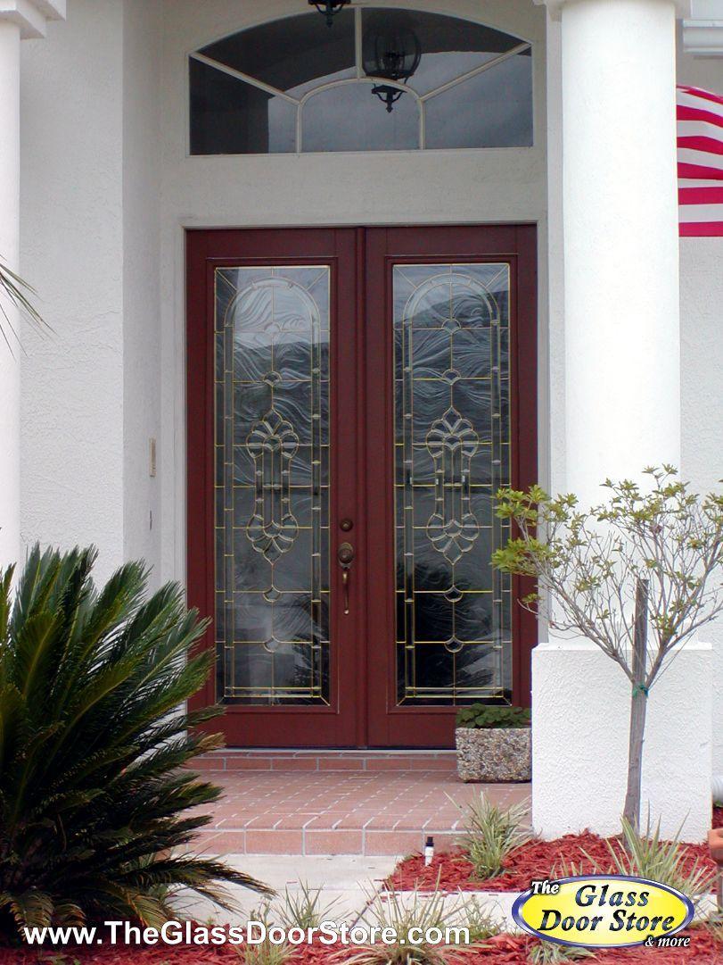 Dark Red Double Doors With Glass Door Inserts We Added The Glass To These Doors Http Glassdoorstampa Painted Front Doors Front Door Paint Colors Glass Door