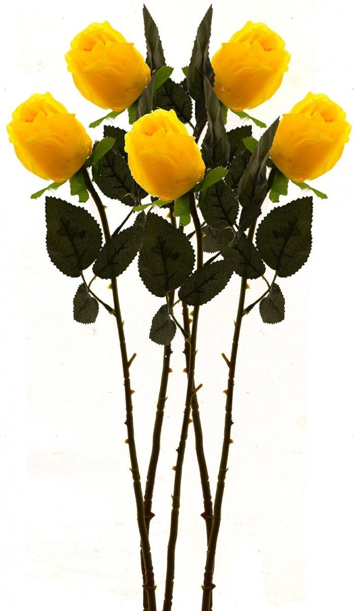 Synthetic Single Roseset Of 4yellow Artificial Flower Bunches