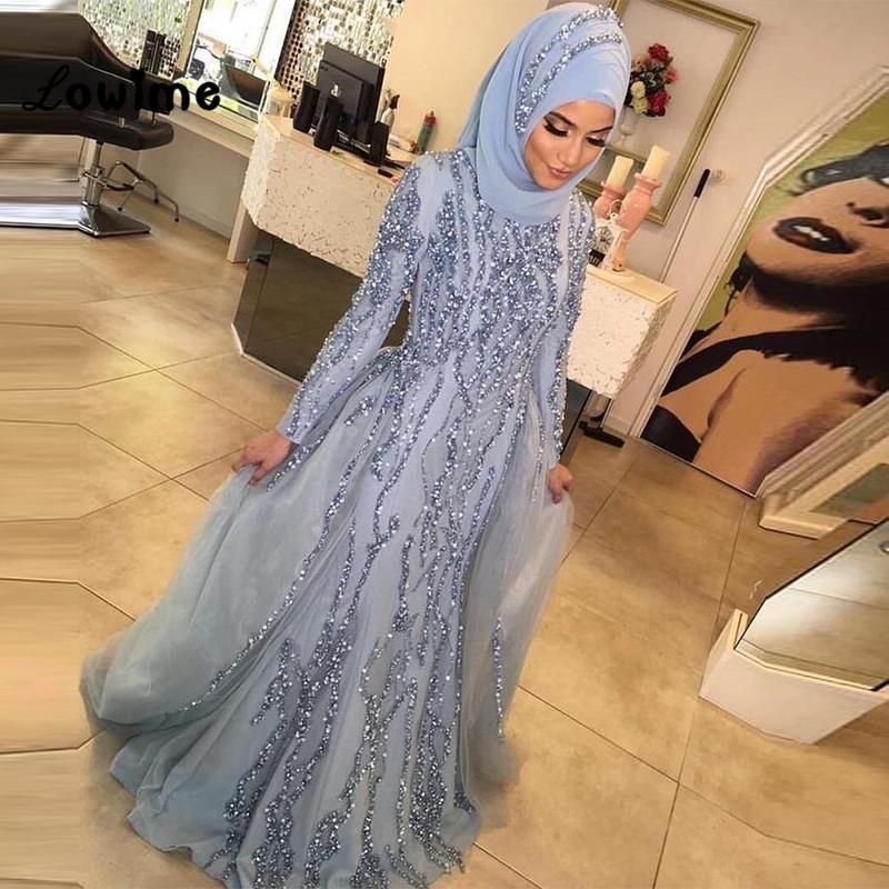 a01698de27 Hijab Muslim Long Sleeve Mermaid Formal Evening Party Dress Dubai ...