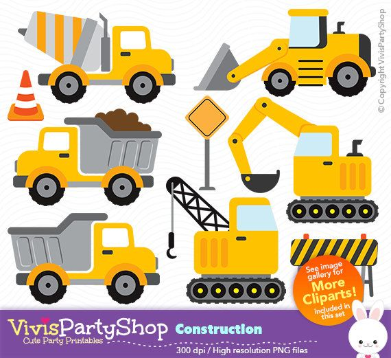 Construction Clipart Printable Instant Download Png Files Truck Maquinas De Construccion Fiestas De Cumpleanos De La Construccion Fiesta De La Construccion
