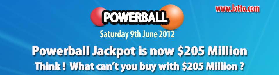 Powerball jackpot is now $205,000,000.00 . Play at www.lotto.com