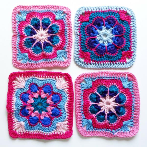Anleitung: Granny-Square häkeln | Deckel Blumen.... | Pinterest