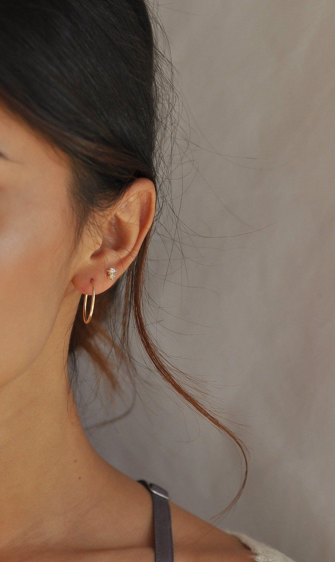 Gold Hoop Earrings Dainty hoop earrings Small hoop earrings Modern thin endless hoop Pearl drop disc celestial sun dangle 14k Gold Filled