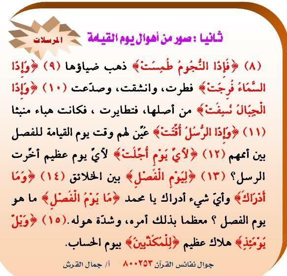مقاصد سورة المرسلات ٢