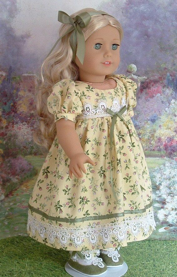 Maize and Roses Day Dress for Caroline | Doll clothes and ...