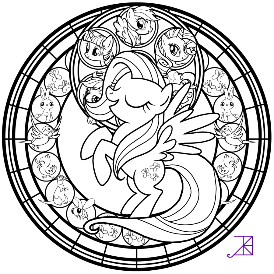 My Little Pony Dazzlings Coloring Pages. Stained Glass  Fluttershy line art by Akili Amethyst deviantart com Coloring Pages