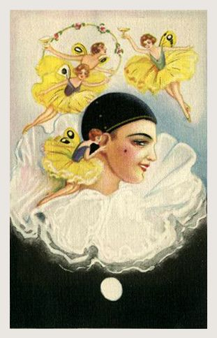 Attributed to Sofia Chiostri (Italian 1898-1945) - Vintage Art Deco Harlequin Pierrot card