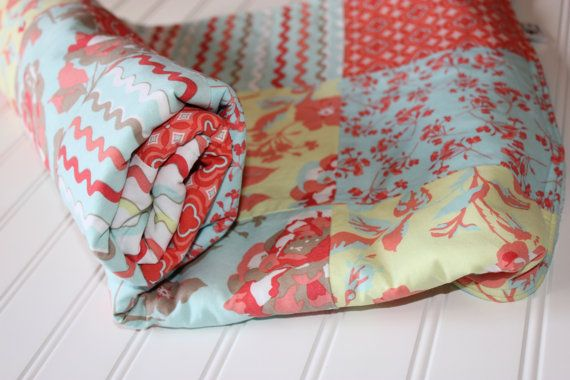 Minky Baby Girl Patchwork Quilt - Aqua, Coral, Gray, Yellow - Baby Quilt - Ready to Ship - Minky Baby Blanket, Crib Blanket, Baby Blanket on Etsy, $59.00