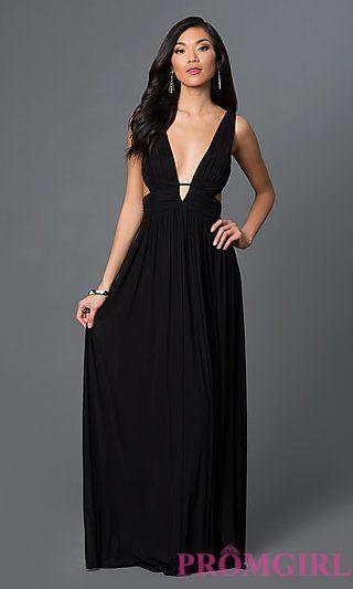 b6344db6fd Open Side Long Ruched Low V-Neck Black Prom Dress at PromGirl.com
