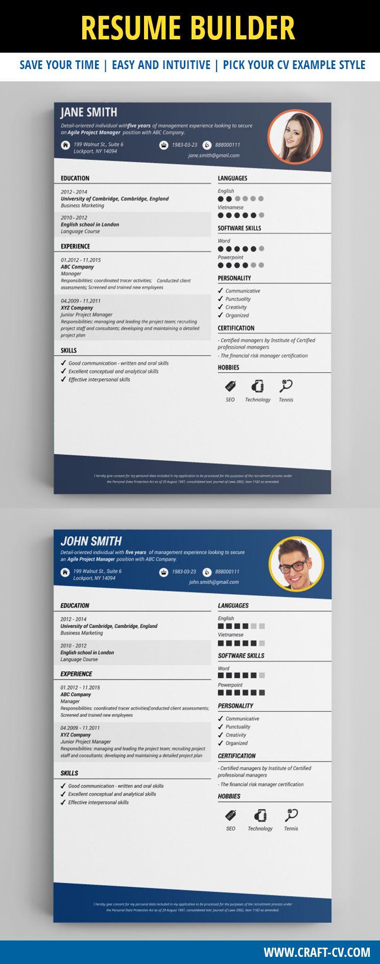 Modern Resume Example #modernresume #resume #cv | Creative CV ...