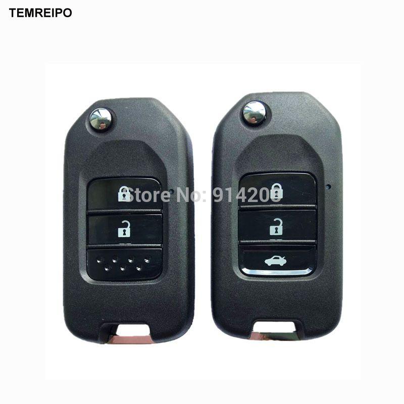 Temreipo Car Folding Key Auto Flip Key Shell For Honda Civic City Fit Xrv Vezel Car Remote Key Fob Case Cover With Logo Honda Civic Auto Honda