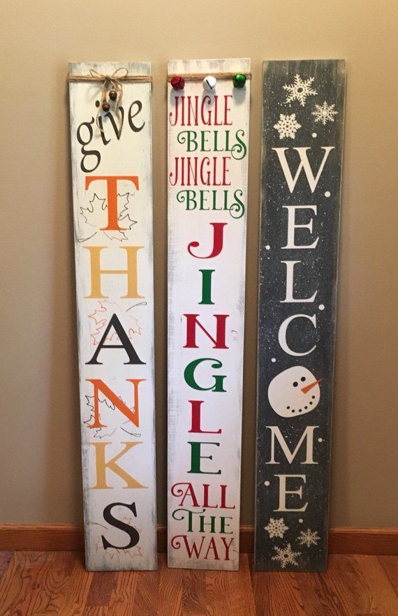Reversible Give Thanks Jingle Bells Or Snowy Welcome With Images Holiday Diy Projects Christmas Signs Diy Holiday