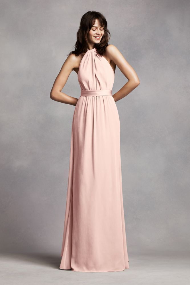 Long Crinkle Chiffon Halter Bridesmaid Dress Blush Pink