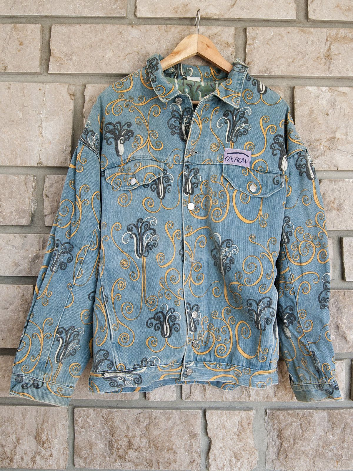 b659850f7c1 Vintage denim jacket for men from the Oxbow brand. This psychedelic pattern  jacket is so 90s! 100% cotton.  denimjacket  denim  jeanjacket  jean ...