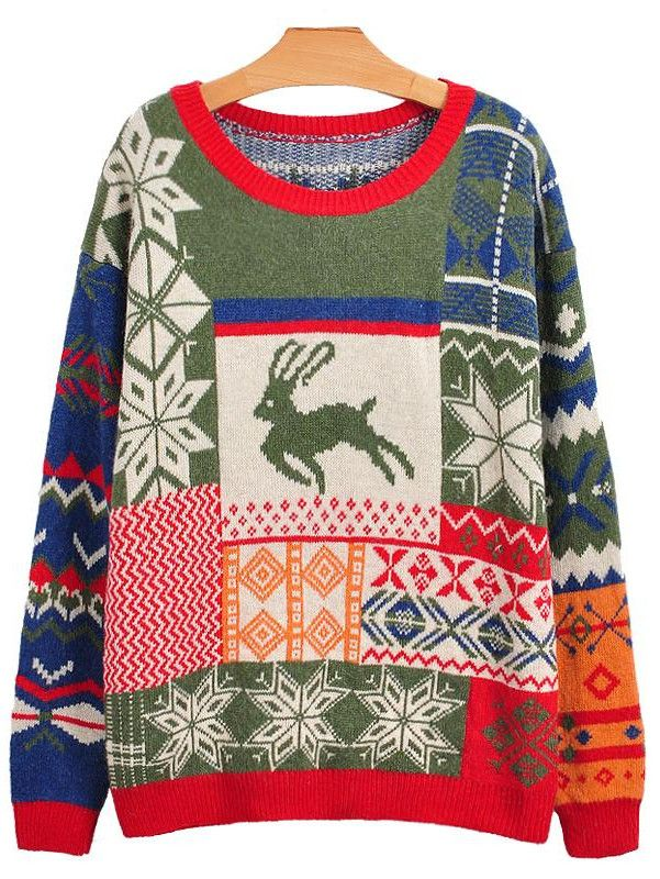 vintage christmas sweater a treasure of mismatched clashing colors and patterns with an embarrassed reindeer frozen to the front forever - Vintage Christmas Sweater