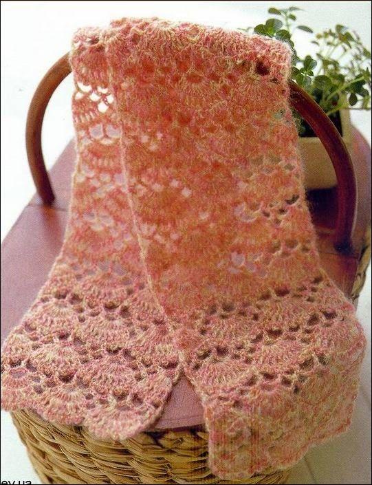 Bufanda o estola con punto abanico al crochet / patrones gratis ...