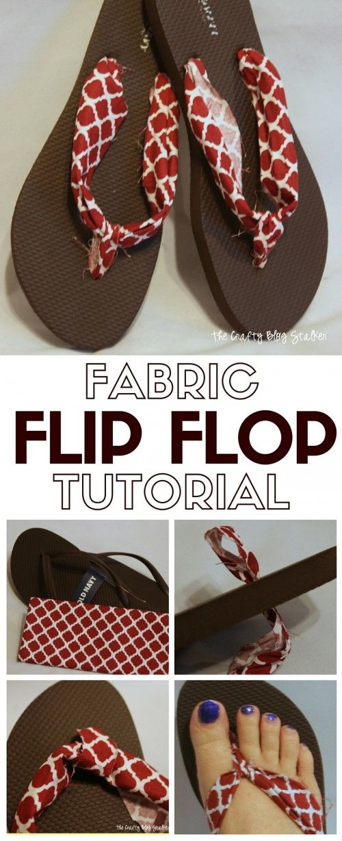 bf21aae61f77ce Customize a pair of Flip Flops with your favorite Fabric and a hot glue.  Match any outfit for the perfect DIY fashion accessory.