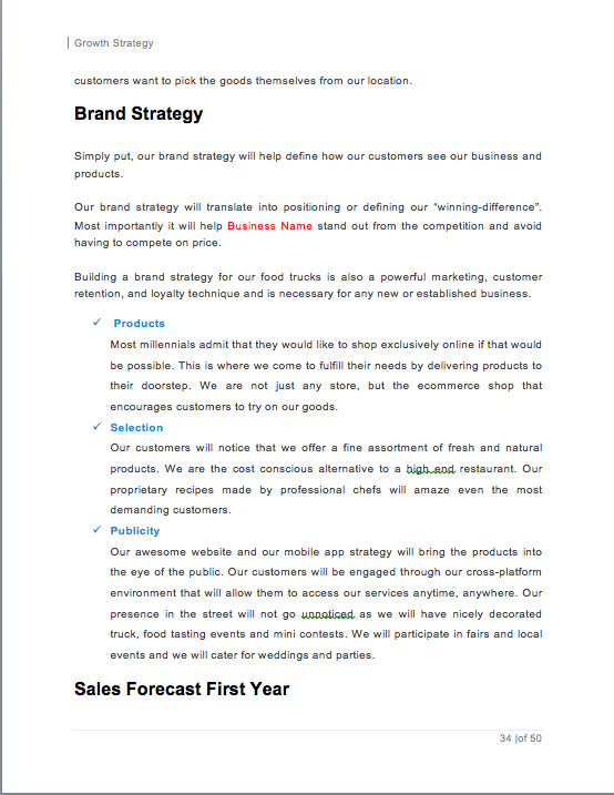 Food Truck Business Plan Template Sample Pages Business Planning