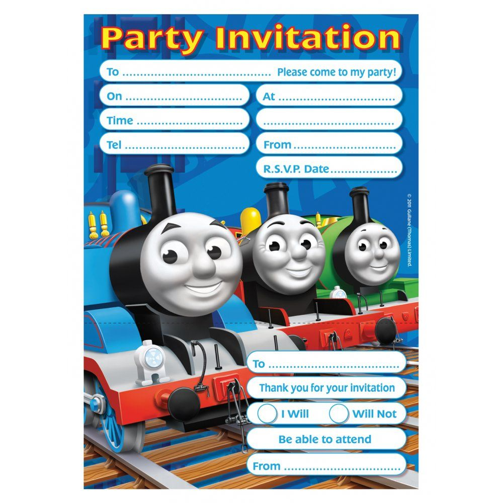 Thomas Friends Train Themed Party 2nd Birthday Invitations