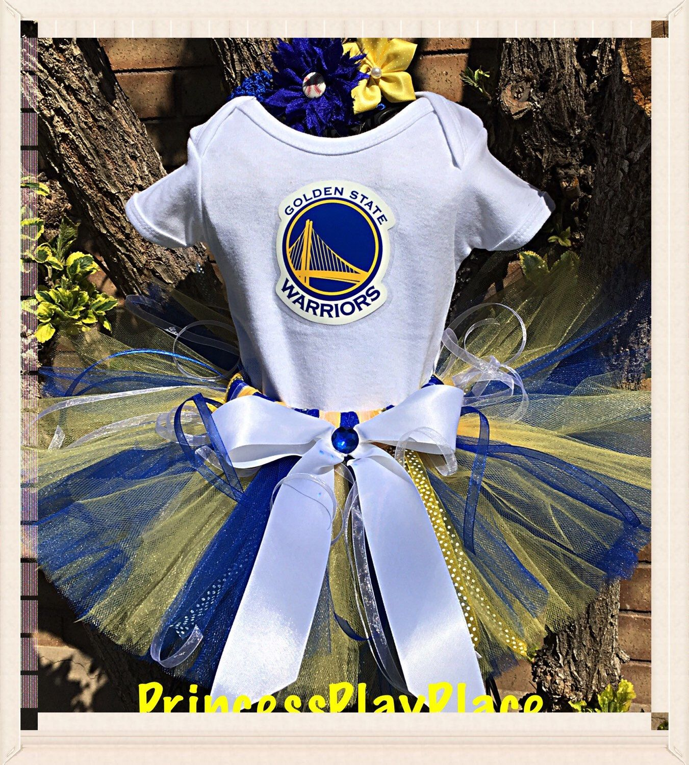 0c9793d5a Cheerleading Outfits · Cheerleader Golden State Warriors inspired Tutu Girls  Basketball Outfit Newborn 0 3 6 9 12 18