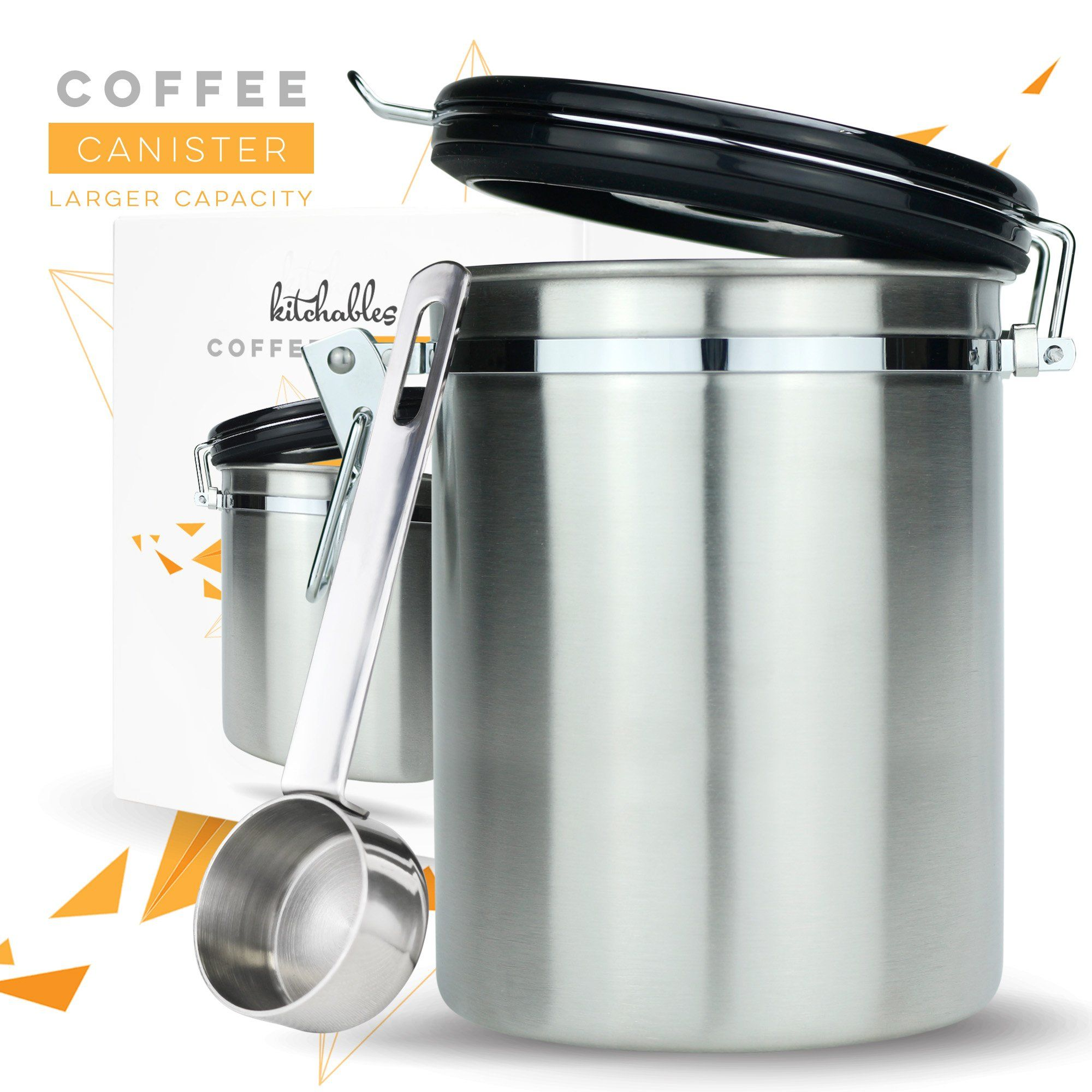 Coffee Canister Large Airtight Seal Set with Scoop Stainless