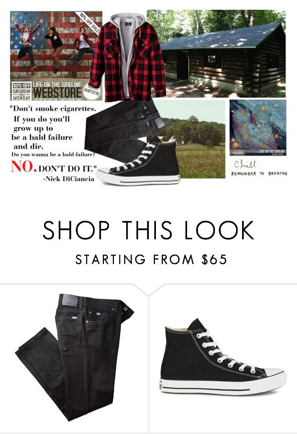 """DONT SMOKE CIGARETTES!!!11!!!1!!"" by emorecyclable ❤ liked on Polyvore featuring BRAX and Converse"