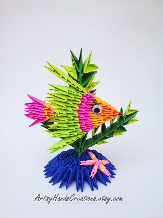 3d Origami Fish Paper Decorative Item Handmade Gift Idea This Is Made Of Approximately 245 Triangular