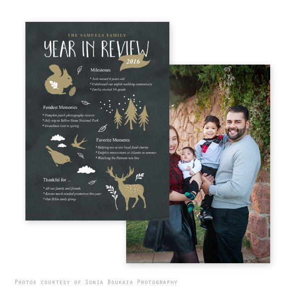 Gold Chalk Year Review Holiday Card