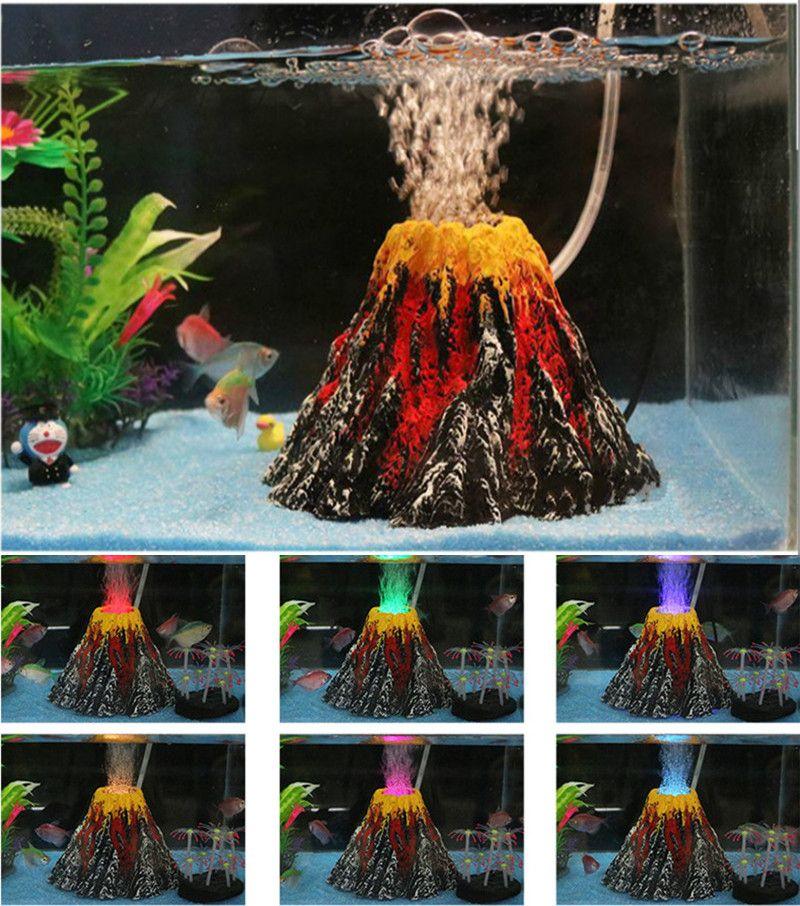 New Artificial Aquarium Volcano Decoration Stone Fish Tank Volcano Eruption Ornament Aquarium Decor Used With Air Pum Aquarium Air Pump Fish Tank Aquarium Pump