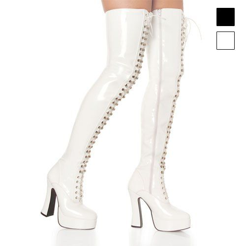"""$63.99-$101.73 Women's Lace-Up 5.5 Inch Block Heel Thigh-High Platform Boot (White;14) - ELECTRA-3023, 5"""" Stack Heel with 1 1/2"""" Platform Boots                http://www.amazon.com/dp/B0002Z1MZU/?tag=icypnt-20"""
