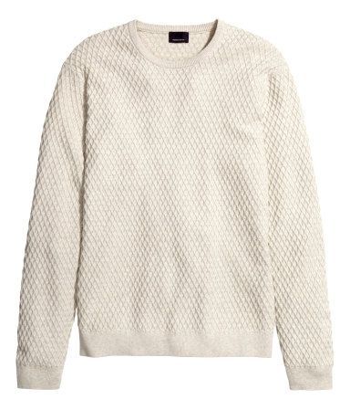 Off-white knit in a textured cotton & cashmere blend. | H&M Men's ...