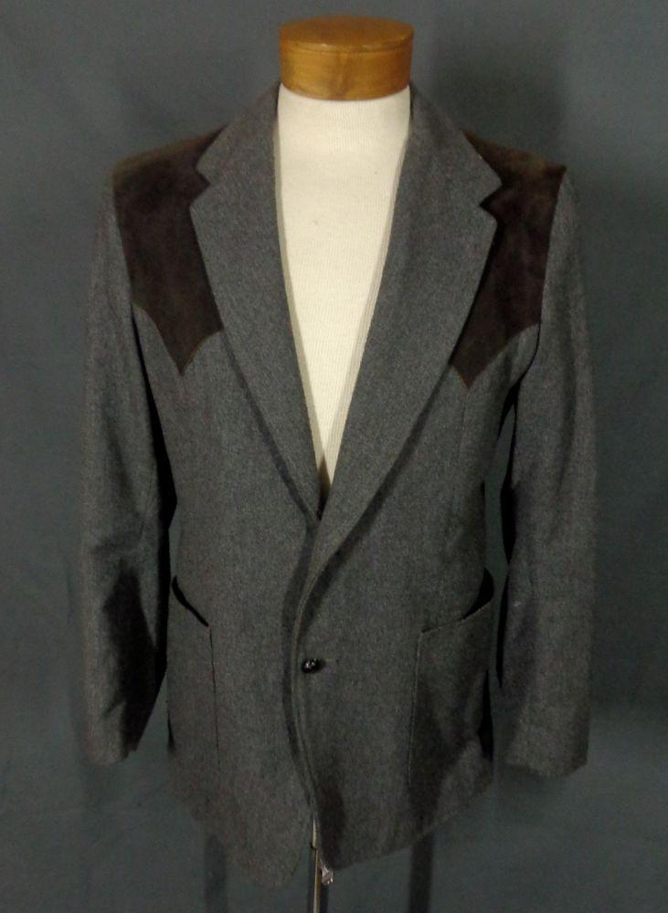 Vintage Men's Brad Whitney Gray & Brown Ultra Suede Rockabilly Blazer-Sz. 42-VLV #BradWhitney #RockabillyBlazer