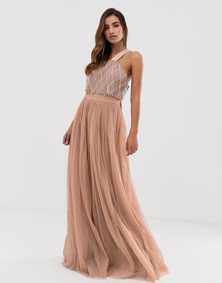 Asos design embellished top halter tulle maxi dress maxi