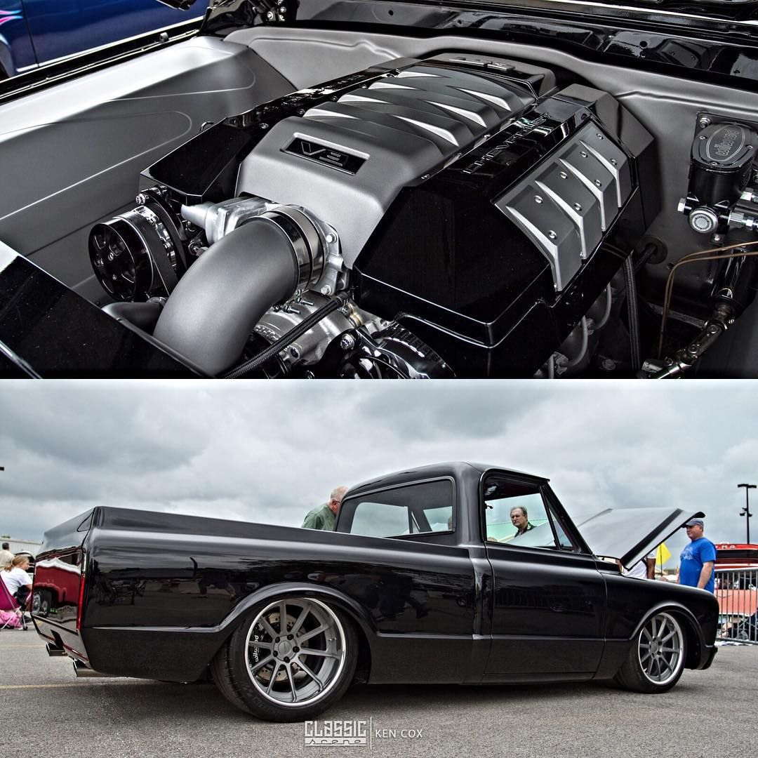 1967 C10 W Ls3 6 2l Swap And A Sick Stance Engine Cover Coil Valve 67 To 72 Black With Red