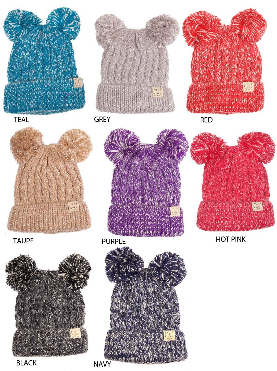Kids Knit Beanie Hat with Two Pom Poms by CC inset 2  67907cf7802