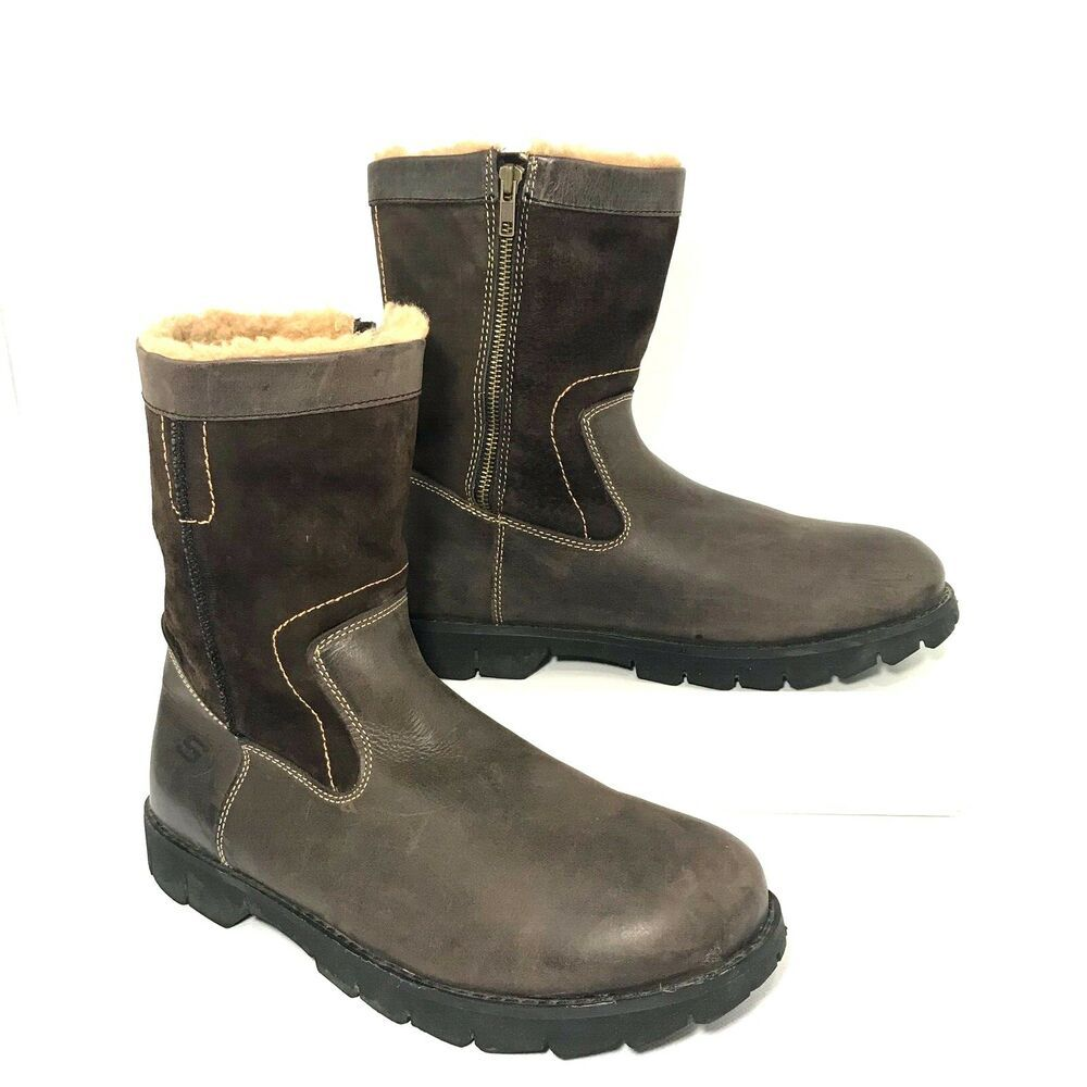 9d0d4eb283f Skechers 61212 Extradite Chocolate Brown Leather Shearling Boots ...