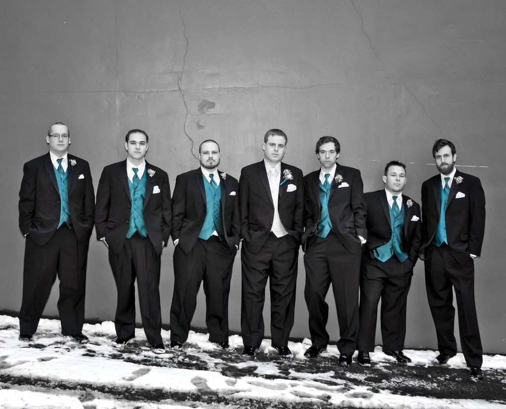 Perfect Wedding Turquoise Black And White Switching The Groom Groomsmen Vests Though