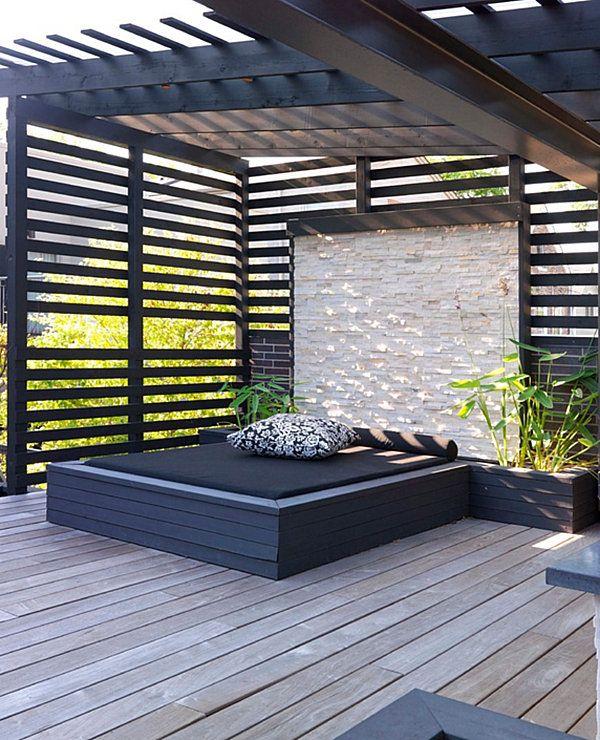 Moderne Terrassengestaltung- coole Lounge Möbel im Außenbereich - garten loungemobel anthrazit