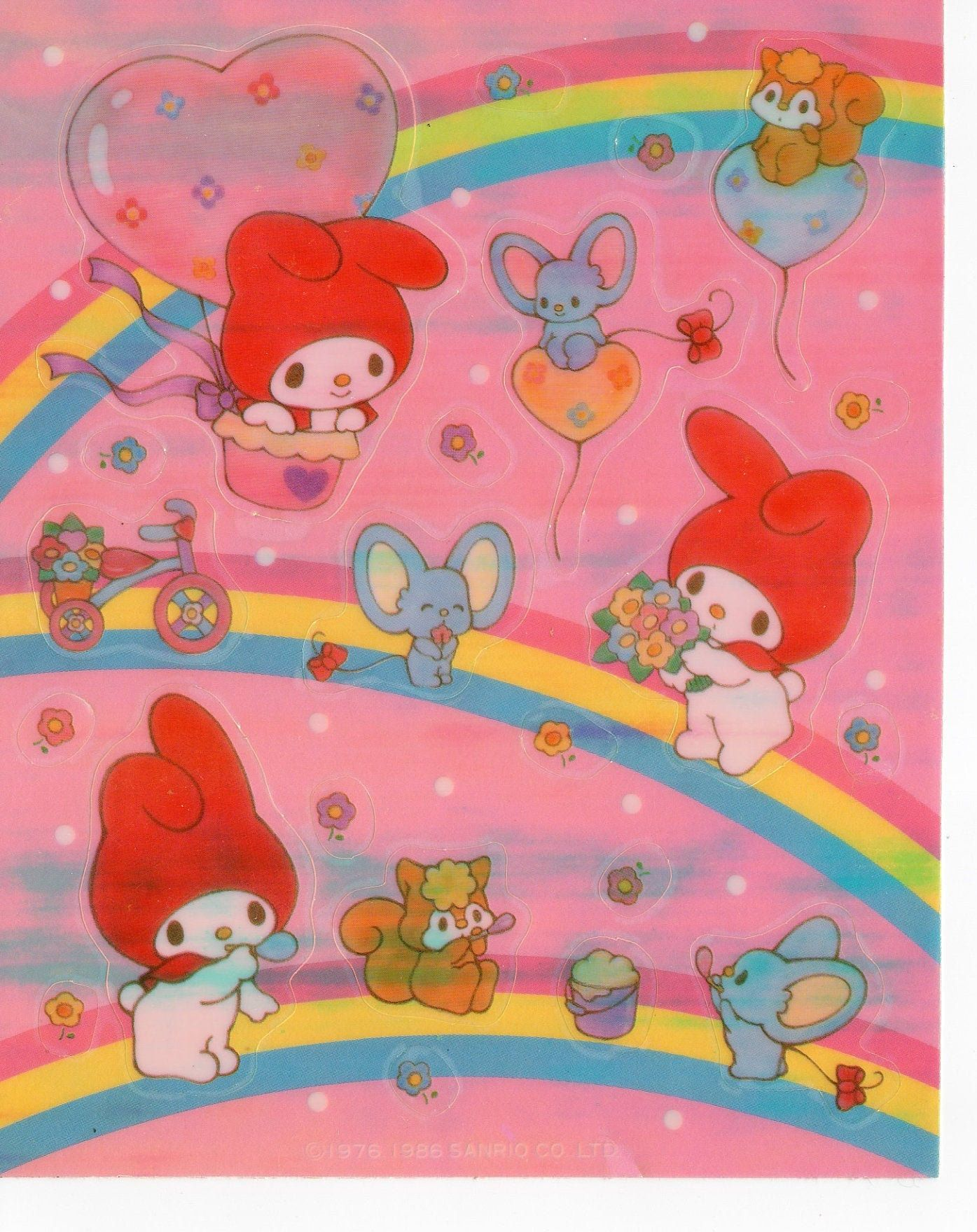 Vintage 1976, 1986 Sanrio My Melody Opal Iridescent Pearl Stickers - Rainbow Mouse Bunny & Squirrel Stickers